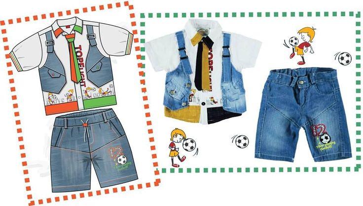 Futbol desenli,Erkek çocuk 3'lü yelekli kot takım. tasarım.