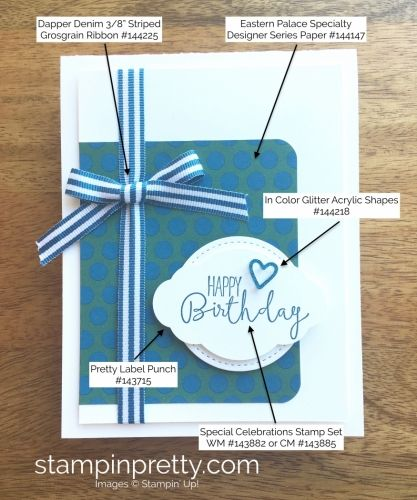 Special Celebrations Stamp Set & Stitched Shapes Framelits Dies Birthday Card.  Mary Fish, Stampin' Up! Demonstrator.  1000+ StampinUp & SUO card ideas.  Read more https://stampinpretty.com/2017/07/pals-blog-hop-its-a-pattern-party.html