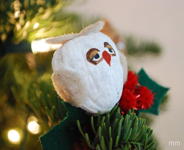 Here's a great idea for a DYI ornament! How will you decorate your tree? #treetues http://www.mirandamade.com/2010/11/owl-walnut-ornament.html