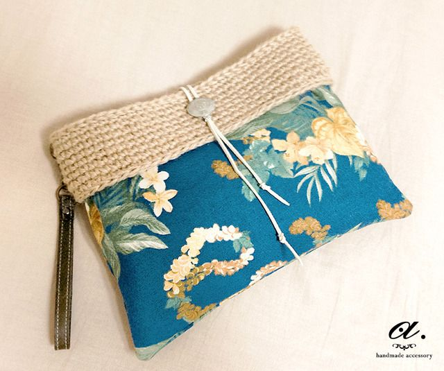 crochet and fabric clutch bag