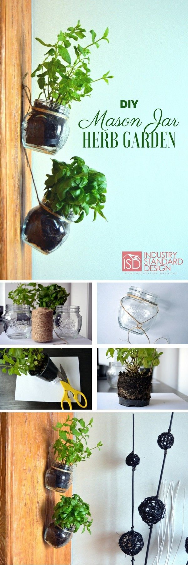Check out how to make a very easy DIY mason jar hanging herb garden @istandarddesign