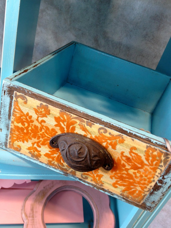 Teal Drawer Box with Iron Knob and Vintage by MorganBaron on Etsy, $27.50-- cute for cards!