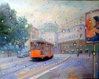 Tram a Milano dipinto da Giuseppe Faraone www.pinofaraone.it