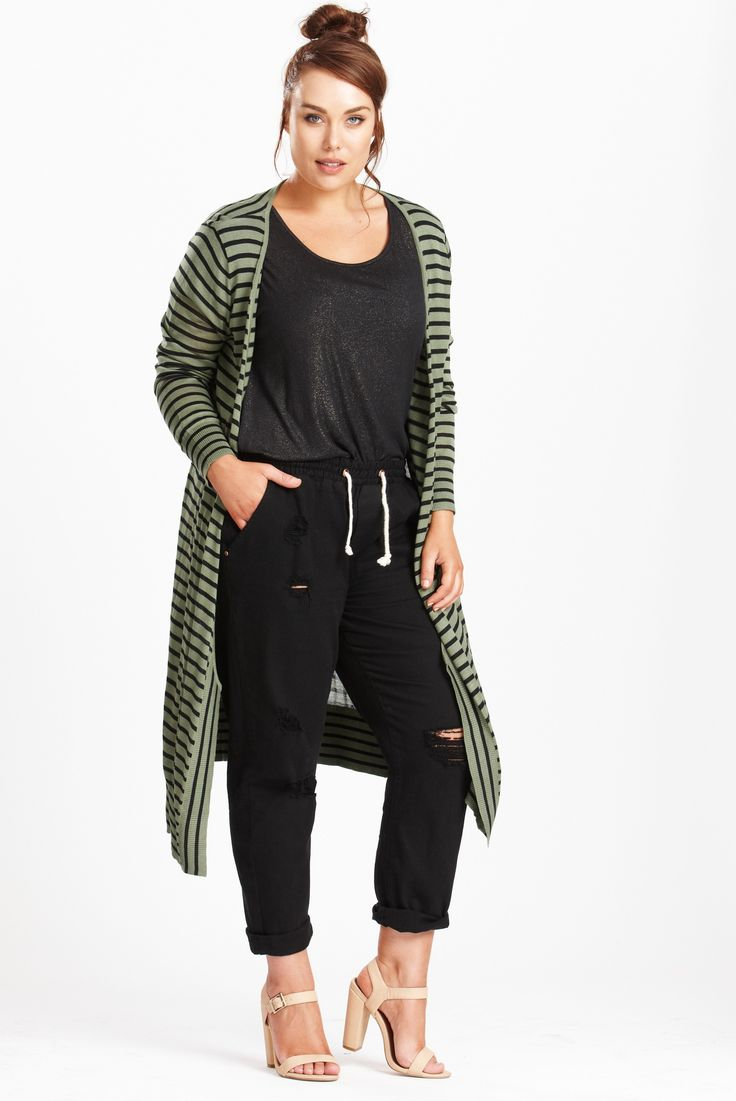 Duster+Striped+Maxi+Cardi+-+Lightweight+and+luxe.  Easy+wearing+basic+in+Sage+with+a+black+stripe.+and+sewn+on+rib+detail.  Easy+to+wear+over+anything.+good+basic+for+Autumn.  Made+from+a+Viscose+Nylon+blend+for+a+silky+soft+hand+feel.  Our+model+is+a+size+16+and+is+wearing+a+size+S