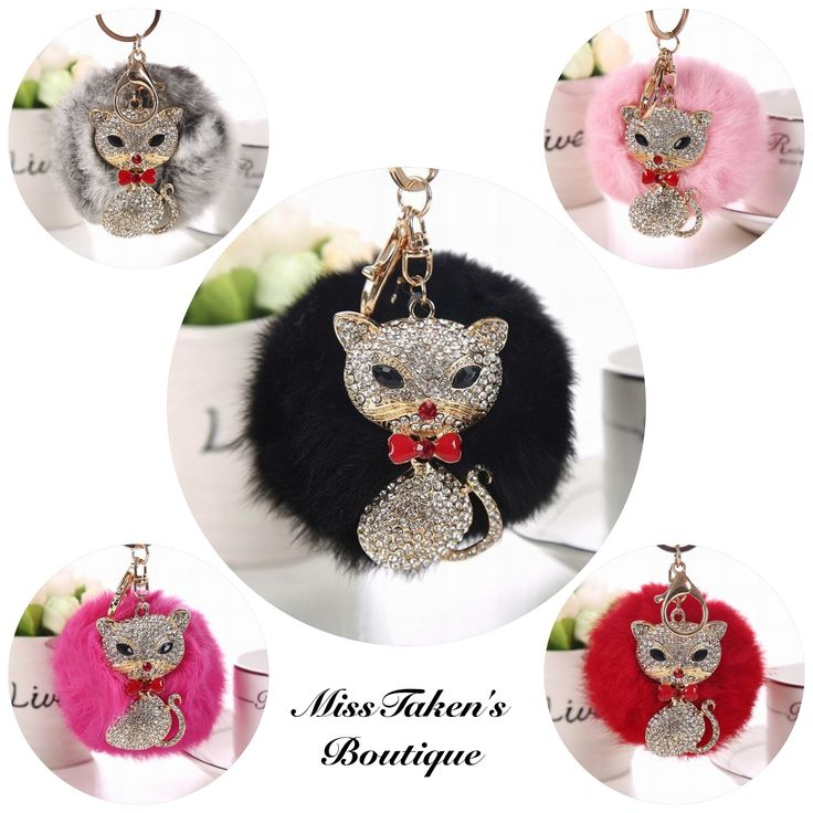 Pom+Pom+Kitty+Keychain+  Purrfect+Accessory+to+hang+on+a+purse,+car+rear+view+mirror+or+keys!  Cat+Size:+4+x+6.3+cm  Material:+14K+Gold+Plated+Zinc+Alloy  Condition:+Brand+New  ***This+item+is+available+for+PICKUP+ONLY!***