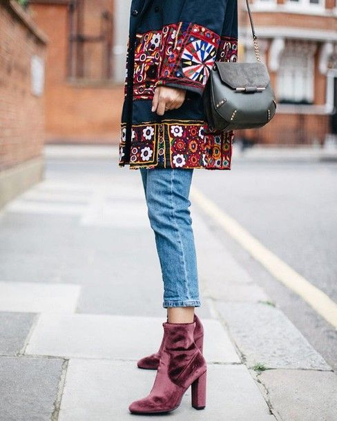 Shoes: velvet boots velvet ankle boots boots denim jeans blue jeans coat…