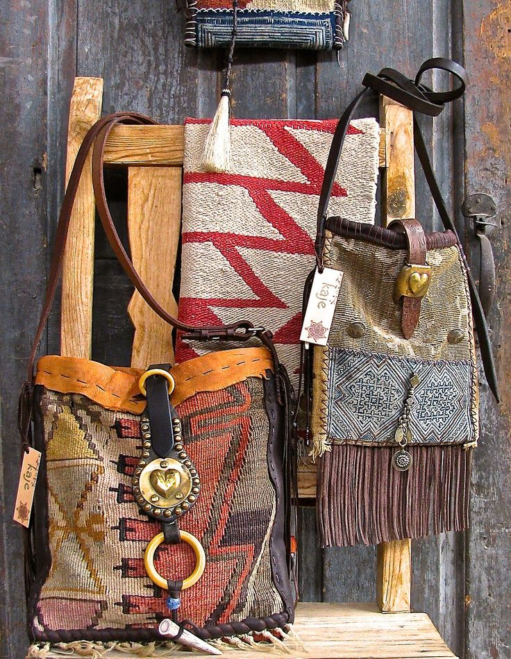 Vintage ethnic textile bags, bridle and harness leather, southwest sterling silver
