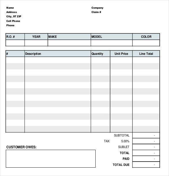 28 Auto Repair Form Template In 2020 Invoice Template Invoice