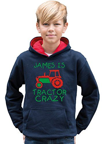 TWO TONE NAVY & RED HOODIE 'PERSONALISED TRACTOR CRAZY' with Red & Green print.