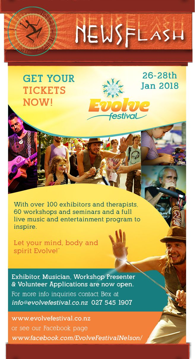 Get your tickets NOW! DrumRoll ... and the beat goes out ... Issue 92 sent Wed 20th December. http://conta.cc/2oNtzuz   #DrumRoll #DrumRollPromotions #NewZealand #wellbeing #connection #community #advertising #promote #evolvefestival