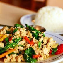This easy chicken stir fry recipe is quick to make and tastes better than take-out! It's also extremely healthy. Strips of chicken breast or thigh are stir-fried together with mushrooms, bell pepper, and snow peas in a delicious Thai stir fry sauce. Or add your own choice of vegetables, depending on what you have in your refrigerator (broccoli, carrots, and celery also work well). This chicken stir fry makes a quick and delicious dinner - just serve with rice and you're done!