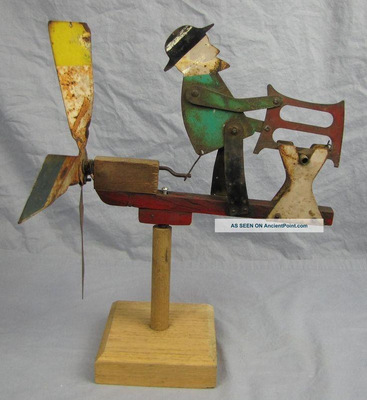 Antique Folk Art Metal Whirligig Man Sawing Log