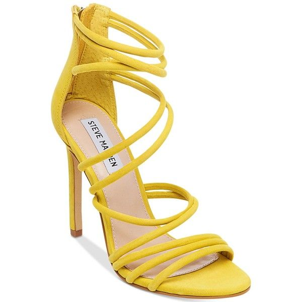 Steve Madden Women's Santi Strappy Sandals ($109) ❤ liked on Polyvore featuring shoes, sandals, yellow nubuck, stiletto sandals, steve madden, strappy sandals, nubuck sandals and strap shoes