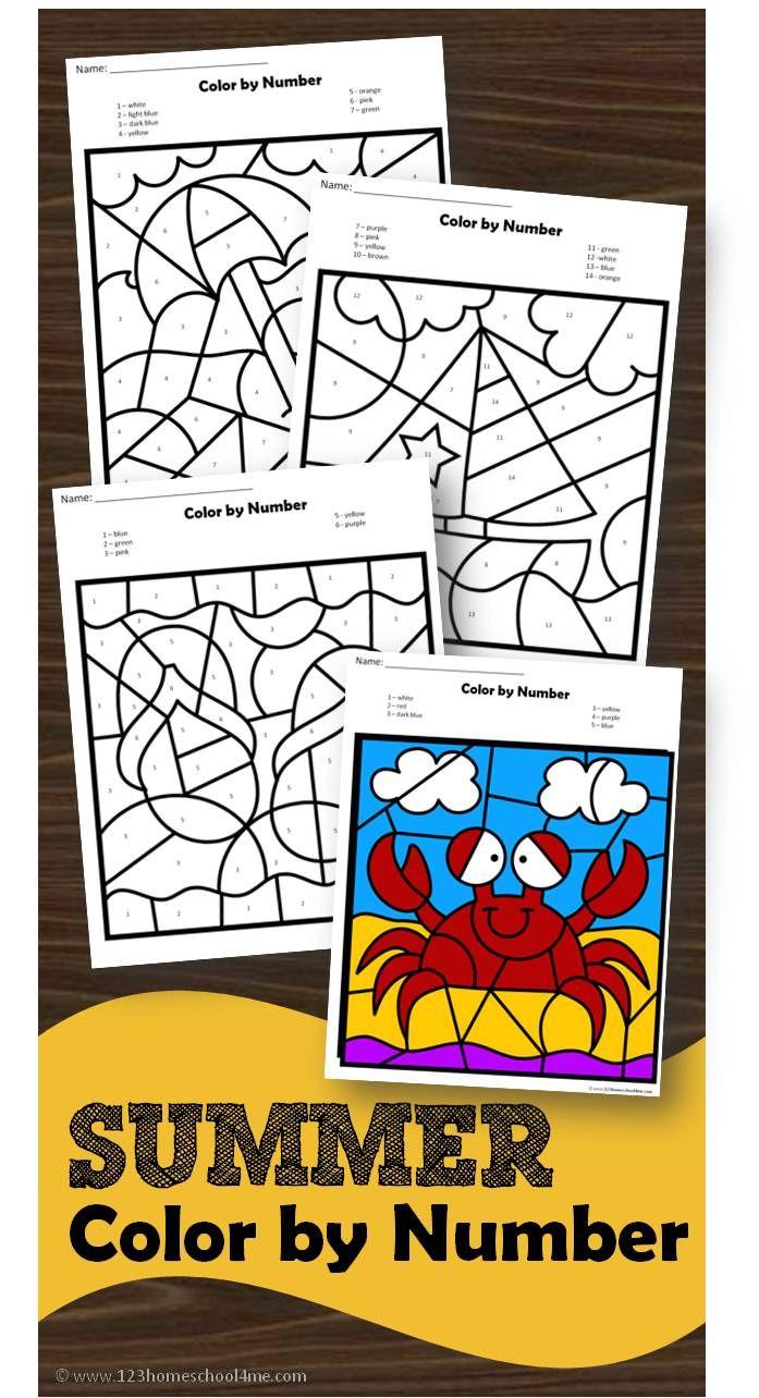 Color crew printables - Free Summer Color By Number Free Printable Worksheets To Help Preschool Prek Kindergarten