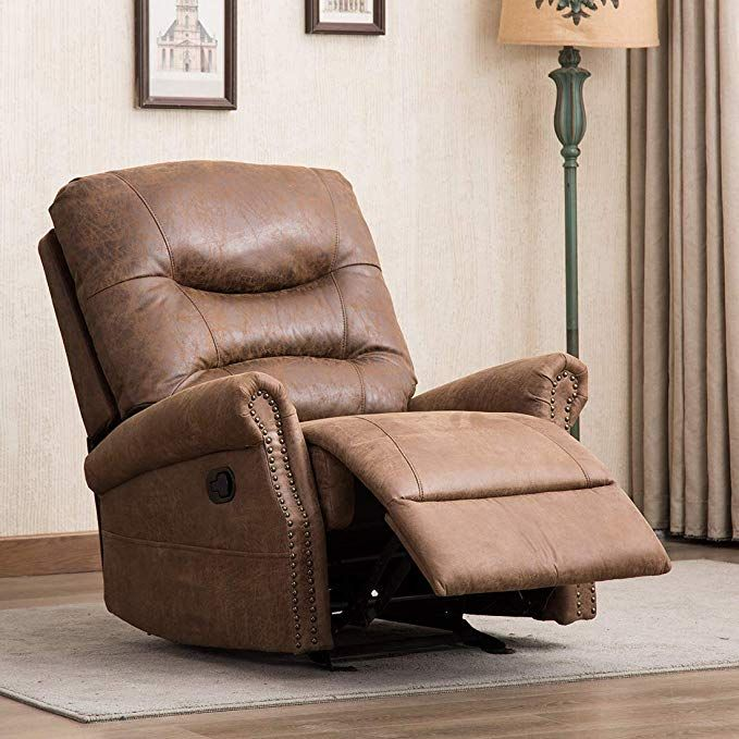 Canmov Breathable Bonded Leather Rocker Recliner Chair Classic And Retro Design 1 Seat Sofa Manual Recliner Chair Rocker Recliner Chair Manual Recliner Chair