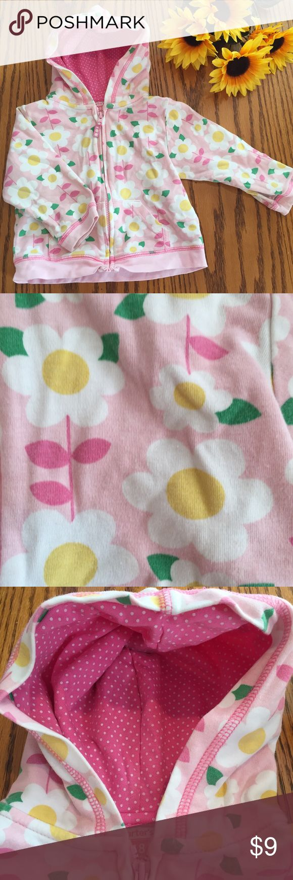 Carter's Pink cotton daisy Floral zip up. 18 month Excellent condition Carter's Pink cotton daisy Floral zip up. 18 months Carter's Shirts & Tops Sweatshirts & Hoodies
