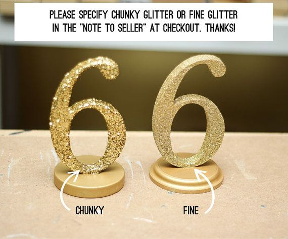 Glitter Wedding Table Numbers Gold or Silver by ZCreateDesign... @Tara Kaufman good to note this difference when we make our own...