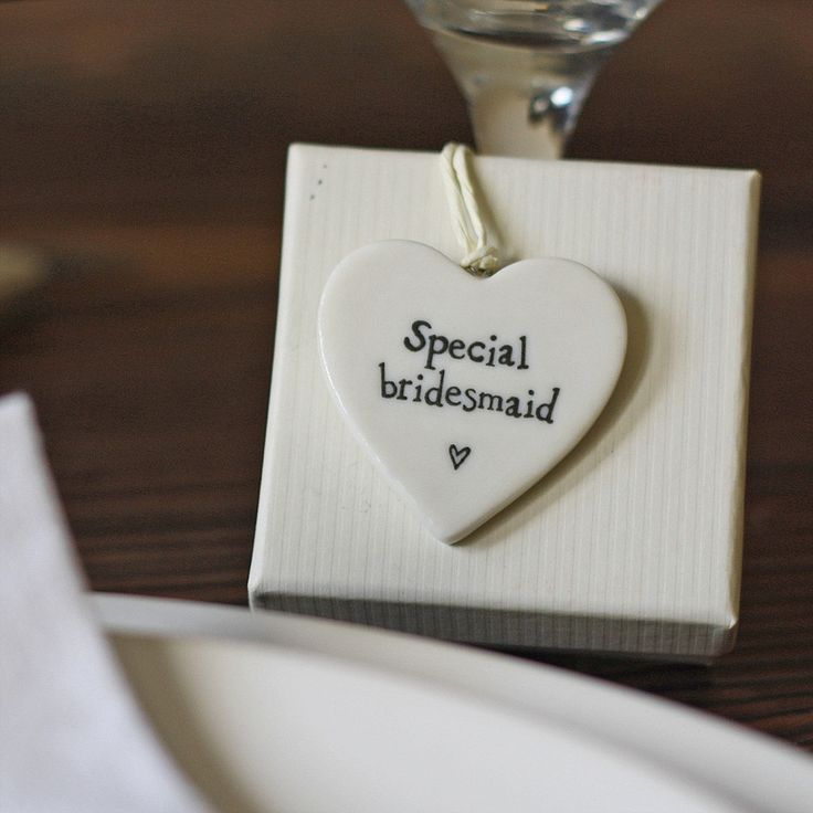 silver heart wedding place card holders%0A Special bridesmaid ceramic heart gift tag  bridesmaids place setting   available from www theweddingofmydreams