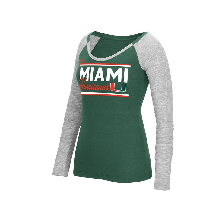 Women's Adidas Miami Hurricanes Double Color Tee, Size: Medium, Green Oth