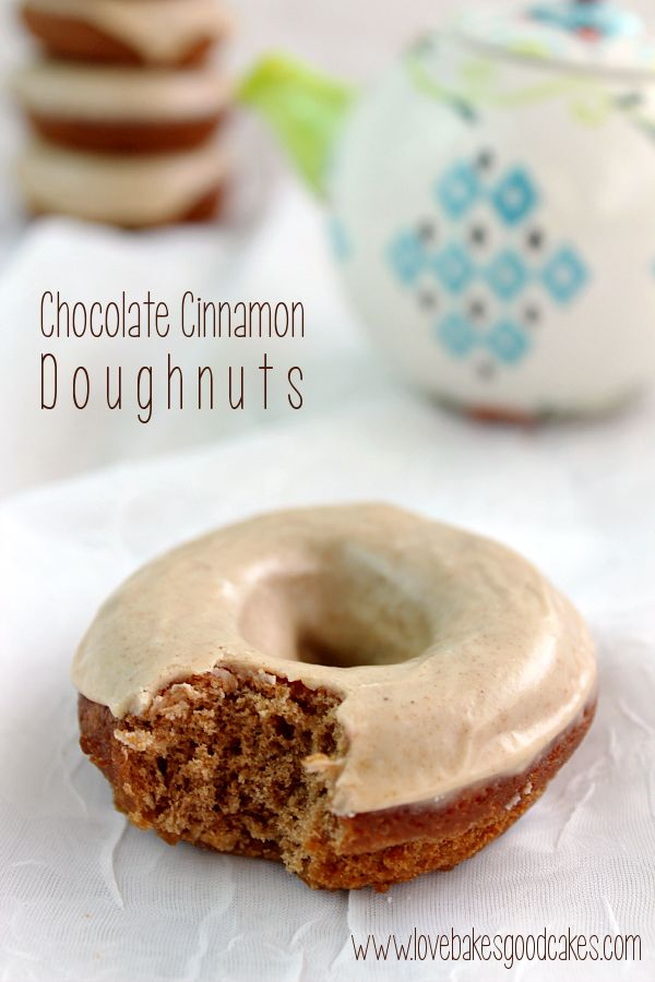 Chocolate Cinnamon Doughnuts - a tender chocolate cinnamon doughnut with a tempting cinnamon glaze- fried
