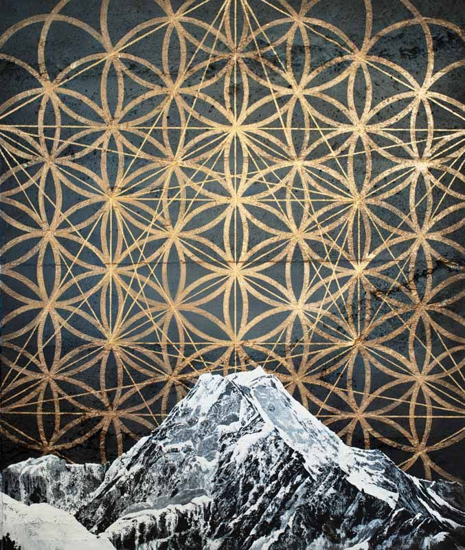 Aoraki Raama Mt Cook painting with Sacred Geometry by Sofia Minson