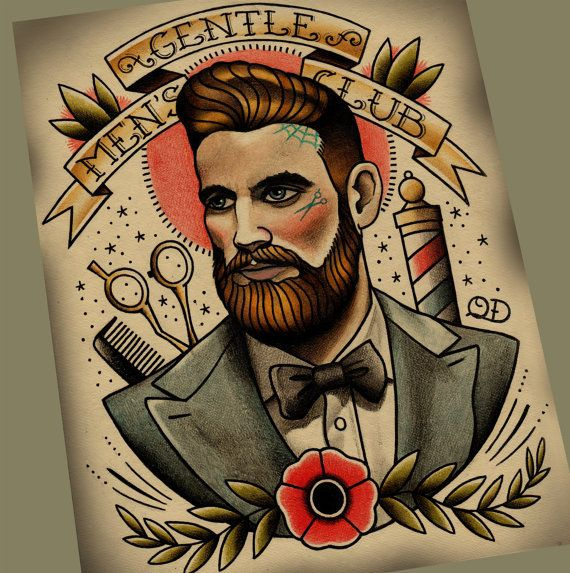 Gentlemen's Club Tattoo Art Print by ParlorTattooPrints on Etsy