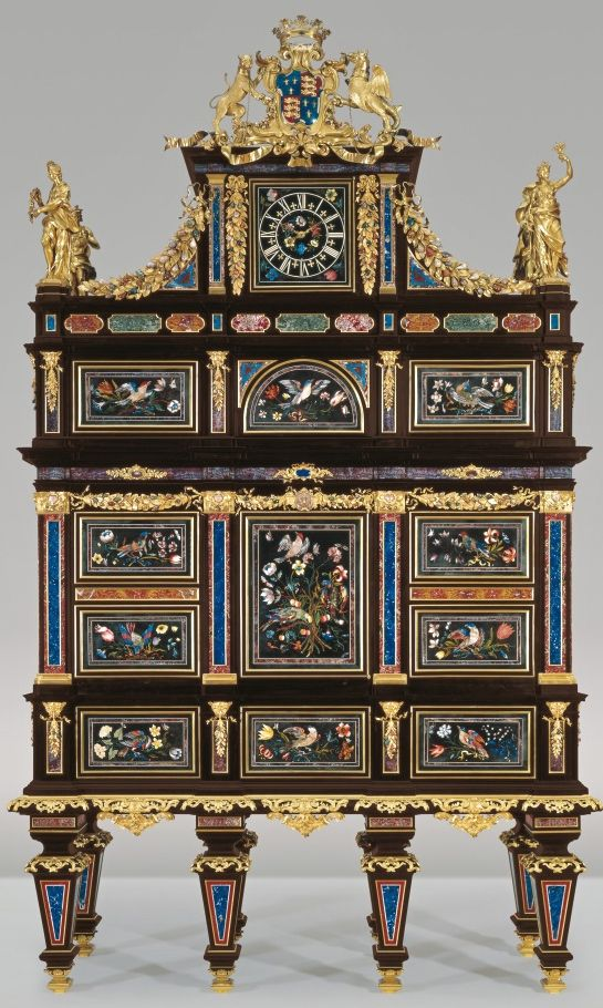 the Badminton Cabinet auctioned in London eight years ago, and sold for £19,045,250 million pounds the most expensive piece of furniture ever sold. The cabinet is huge, it stands 12.5 feet high (the height of two tall men) and 7.5 feet wide.