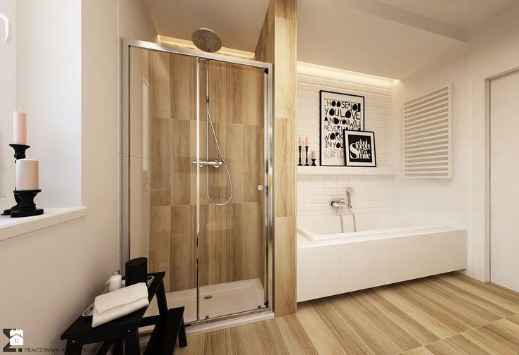 łazienka w stylu skandynawskim z wanną i prysznicem