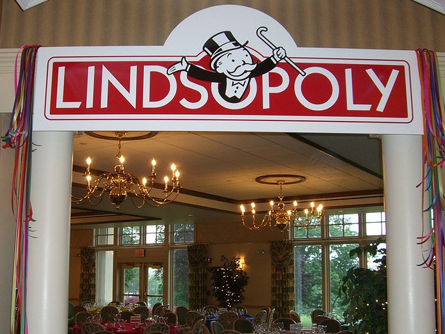Customized event sign for Monopoly birthday party