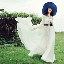 Vendy оригинальный весной и летом 2016 новый женский Европейская мода шифон V-образным Вырезом труба рукавом свободные плюс размер макси-платье(China (Mainland))