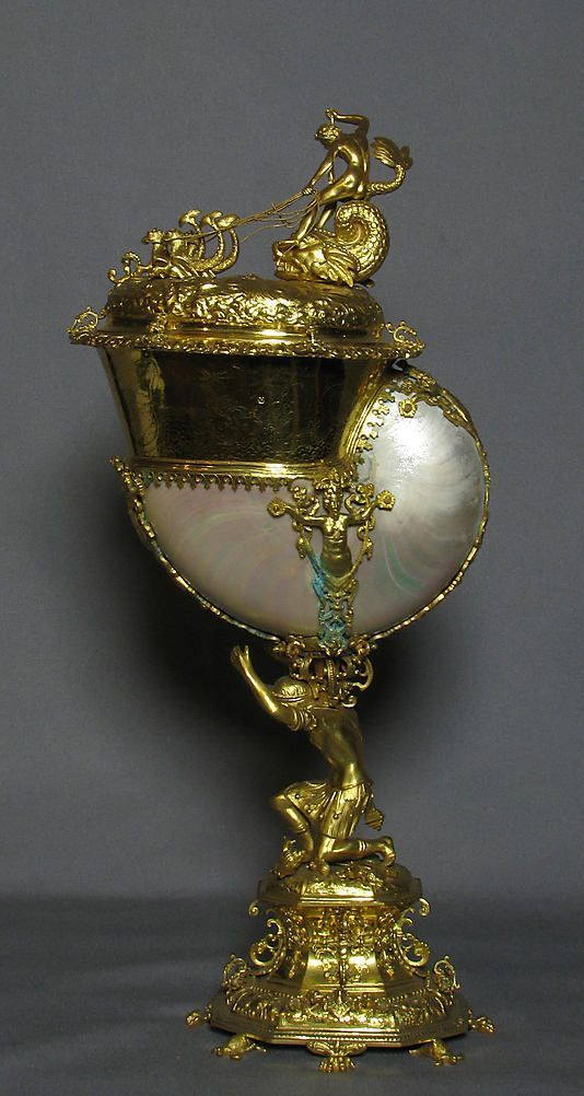 Cup with cover,19th century,British,after aGerman,Nuremberg original.  Silver or base of metal and shell