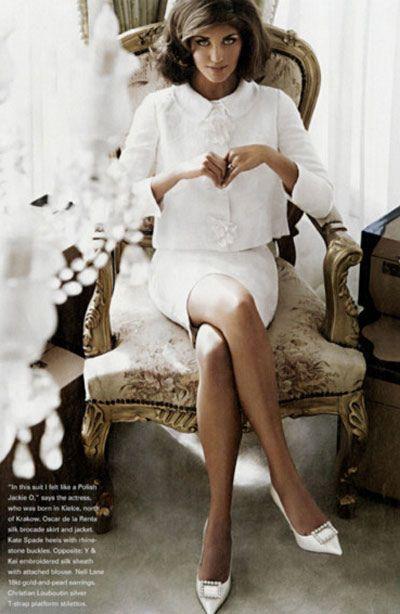 Jackie O white wedding retro boxy suit.