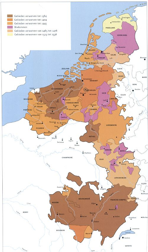 EXPANSION OF BOURGONDY in 15th century 1) by marriage: Flanders - Artois - Malines - Rethel - Nevers - Bourgogne - Franche-Compté 2) Brabant - Limbourg - 3) Luxembourg - Holland - Zeeland - Namur -Picardie - Boulogne - Pontieu - St.Polar 4) Elzas   [purple are church territories]