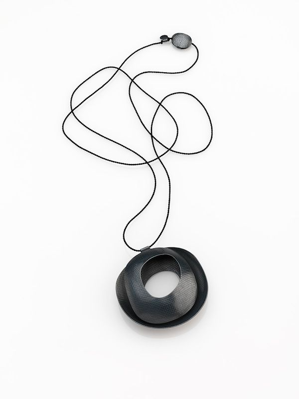 Leslie Matthews - Light and Shadow - Necklace, 2014 – Sterling Silver blackened, silk cord