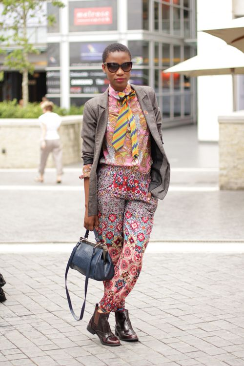 I love these trousers!!African pattern mixed with British heritage jacket