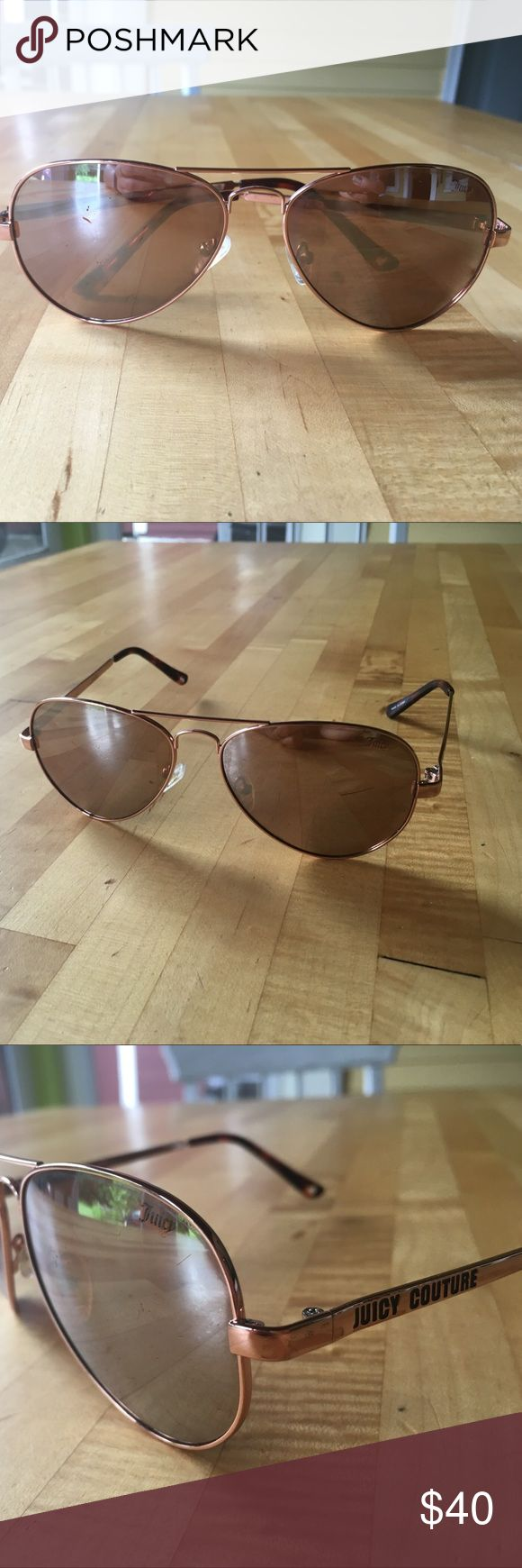 Juicy Couture Aviator Sunglasses Authentic Juicy Couture sunglasses. Some scratches on the lenses and the temples. In good wearable condition. Juicy Couture Accessories Sunglasses