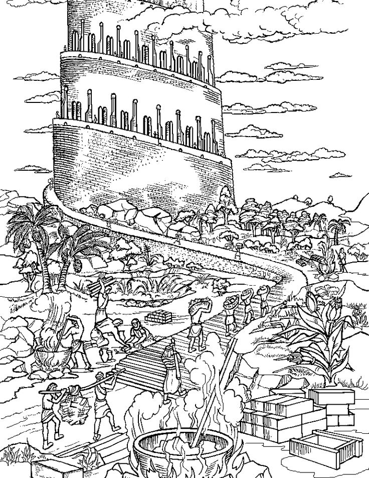 Tower of Babel - ABDA Acts coloring page