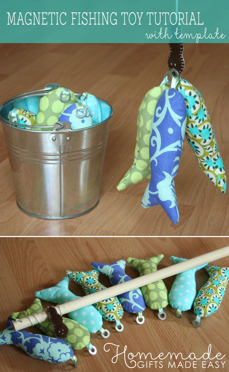 Homemade magnetic fishing game is a great gift for toddlers