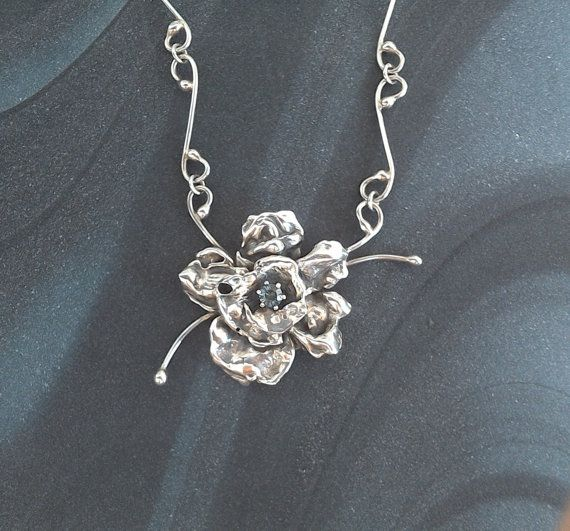 Handmade Abstract Sterling silver flower pendant by StudioLsquared