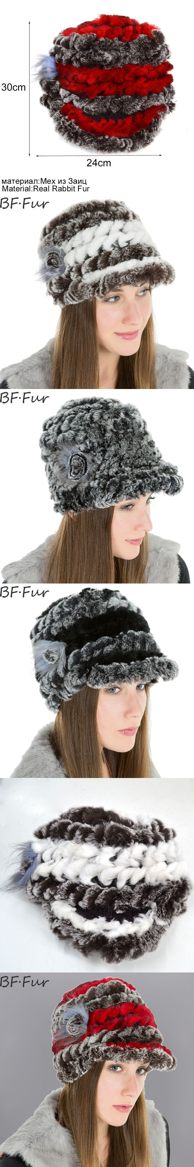 BFFUR Colorful Real Rabbit Fur Beanies Hats Female Winter Thick Warm Cap Women's Casual Bonnet Knitted Cotton Hat Ladies Brand