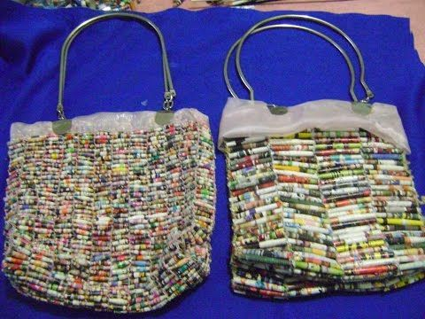 DIY - Bolsa de rolinhos de revista - Handbag with rolls magazine - Bolsa con rollos de revistas - YouTube