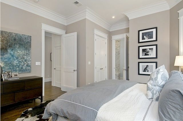 doors, trim, shower tile in bathroom, paint color Benjamin Moore Grege Avenue - love this color!