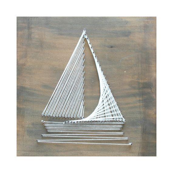Wooden Sail Boat String Art Baby Nursery/Kids by HammerAndTwine