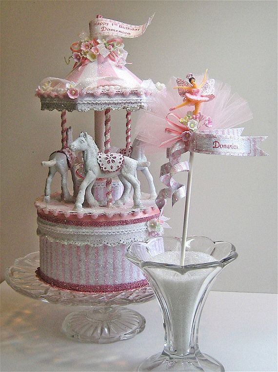 Pretty in Pink Carousel Cake Topper by PatriciaMinishDesign, $185.00