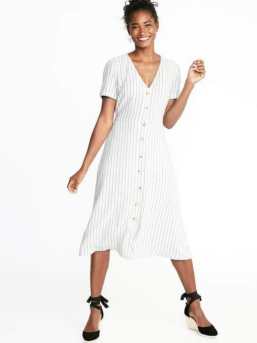 9c2fe1714c94a Striped Waist-Defined Button-Front V-Neck Midi For Women in 2019 ...
