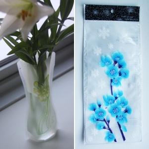 Foldbar vase - Blå orkideer, 20,-