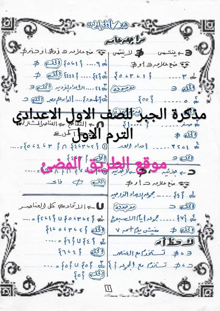 حمل مذكره الشرح والمراجعه لماده الجبر للصف الاول الاعدادي الترم الاول للاستاذ أحمد عبد العظيم Math Formulas Algebra Math