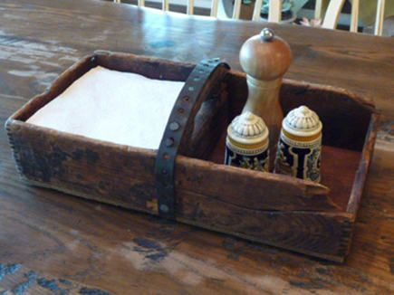 Repurposed Wooden Boxes. Vintage box turned kitchen table organizer. Metal handle. Atticmag.com