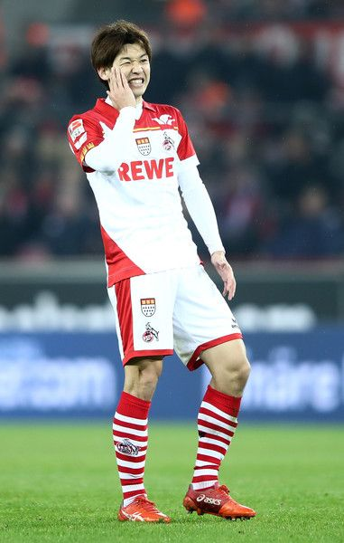 Yuya Osako of Koeln reacst to a missed chance during the Bundesliga match between 1. FC Koeln and FC Schalke 04 at RheinEnergieStadion on February 19, 2017 in Cologne, Germany.