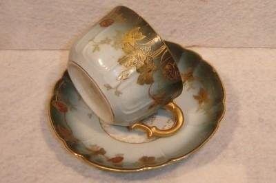 #1612 Antique Limoges Haviland Blue Green Cup & Saucer